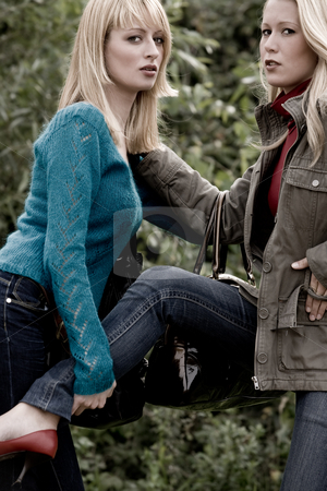Fashion Sisters stock photo, Two sisters in a park having fun by Frenk and Danielle Kaufmann