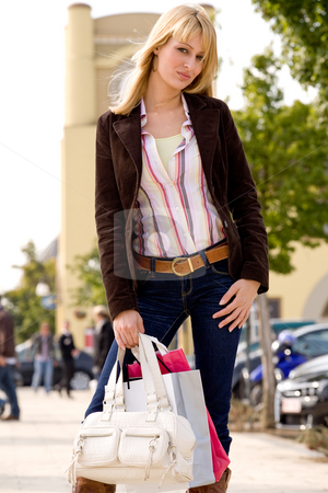 Posing with my bags stock photo, Beauty young girl shopping in the sunny weather by Frenk and Danielle Kaufmann