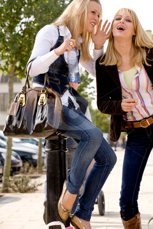 Sitting on a pale stock photo, Two young girls shopping in the sunny weather by Frenk and Danielle Kaufmann
