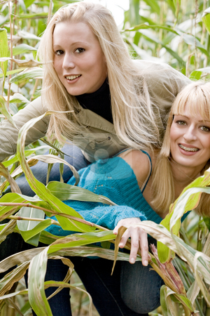 Happy bunnyhop in a cornfield stock photo, Two sisters in a park having fun by Frenk and Danielle Kaufmann