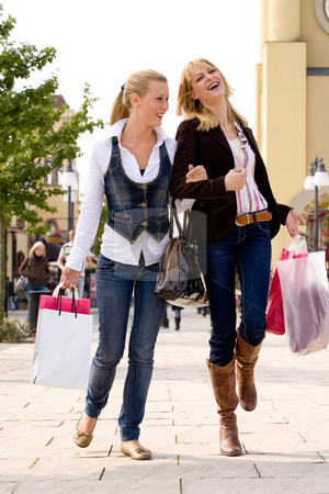 Finished with shopping stock photo, Two young girls shopping in the sunny weather by Frenk and Danielle Kaufmann
