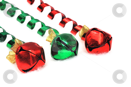Jingle Bells stock photo, Red and green bells on a light fuzzy background by Lynn Bendickson