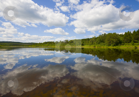 Mirror of Clouds and Forest stock photo, Mirror of clouds and forest  on the surface of a lake in the North Woods of Minnesota. by John McLaird