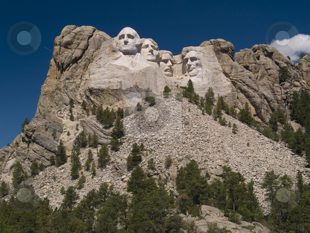 Mount Rushmore with Deep Sky stock photo, Mount Rushmore with a heavily polarized sky. by John McLaird