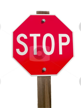 Stop Sign and Post  stock photo, Isolated image of a stop sign and post. by John McLaird