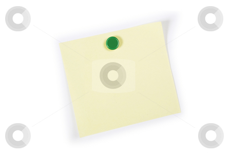 Square adhesive Note stock photo, A square blank yellow adhesive note pinned on to a white background by Steve Smith