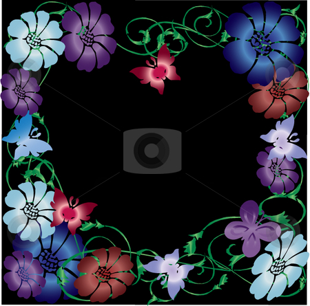 Flowers butterflies, and vines on a black background stock photo, Pretty gradient flower, butterflies, and green vines on a black background great for web-pages, desktops, scrapbooking and much more by Michelle Bergkamp