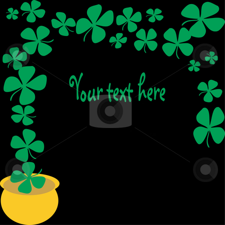 Lucky pot of glod stock photo, Lucky four leaf clovers flying from a golden pot on a black background great for backgrounds, web-pages, scrapbooking and more by Michelle Bergkamp