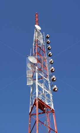 Communication Tower stock photo, A tall TV/radio antennae tower. by Great Divide Photography