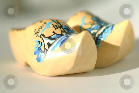 Wooden Clogs stock photo, Painted wooden clogs with the word