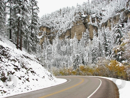 Around The Bend - Winter Scenery Spearfish Canyon stock photo, Taken In Spearfish Canyon In South Dakota by Brian Meyer