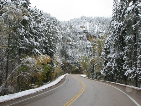 Driving Threw Spearfish Canyon - Winter stock photo, Taken In Spearfish Canyon In South Dakota by Brian Meyer