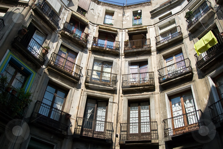 Barcelona balconys stock photo, Balconys in barcelona in ciutat vella, the old town of barcelona by Alexander L?