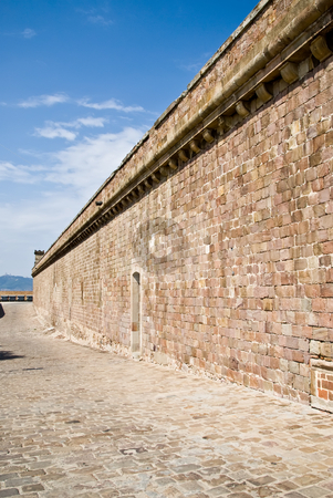 Castell de montjuic stock photo, The wall of castell de montjuic by Alexander L?