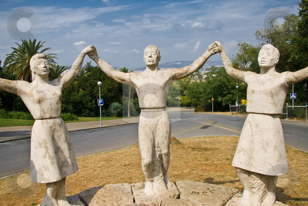 Sardana stock photo, A monument showing the catalonian national dance by Alexander L?