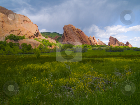 Roxborough Spring stock photo, Spring envelops the red rocks of Colorado's Roxborough State Park by John McLaird