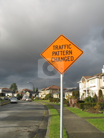 Traffic pattern changed sign stock photo, Traffic pattern changed sign by Mbudley Mbudley