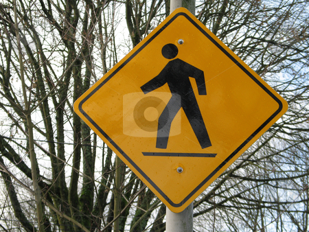 Road sign cross walk stock photo,  by Mbudley Mbudley