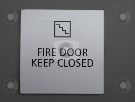 Fire door keep closed sign stock photo, Fire door keep closed sign by Mbudley Mbudley
