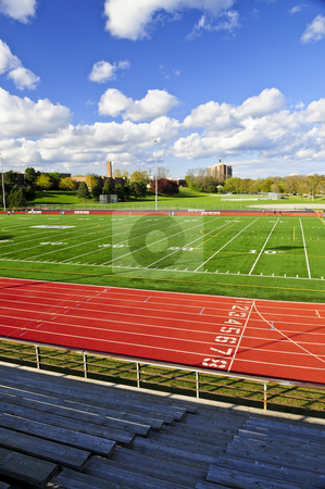 Stadium stock photo, Wide angle view of public outdoor athletic stadium by Elena Elisseeva