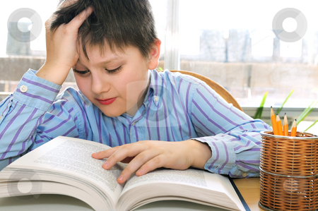 School boy studying stock photo, Serious school boy studying with a book by Elena Elisseeva