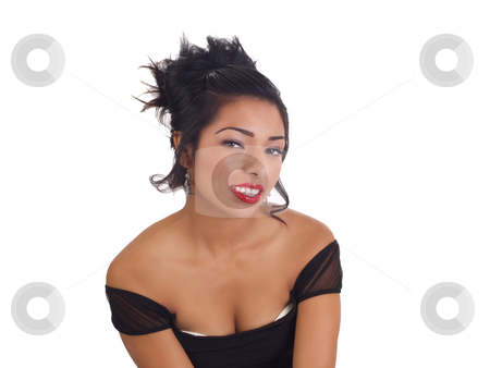 Young hispanic woman smiling with bare shoulders stock photo, Portrait of young latina woman showing cleavage by Jeff Cleveland