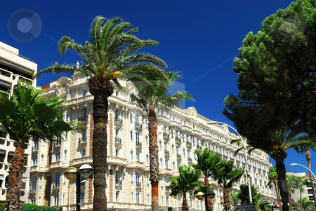 Croisette promenade in Cannes stock photo, Luxury hotel on Croisette promenade in Cannes France by Elena Elisseeva