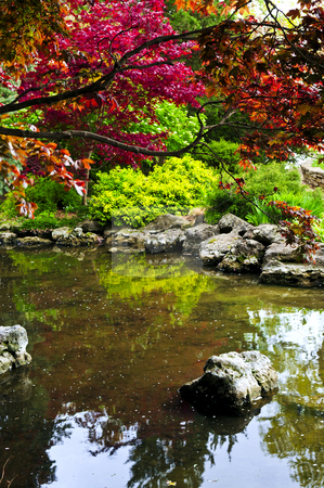 Pond in zen garden stock photo, Pond with natural stones in japanese zen garden by Elena Elisseeva