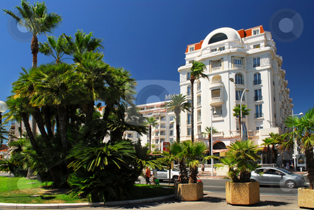 Croisette promenade in Cannes stock photo, Luxury hotel on Croisette promenade in Cannes by Elena Elisseeva