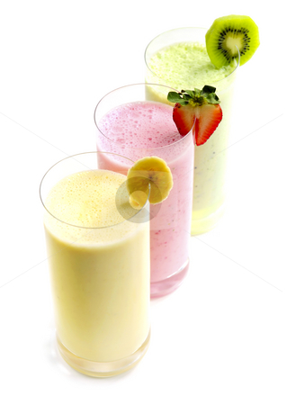 Fruit smoothies stock photo, Various fruit smoothies isolated on white background by Elena Elisseeva