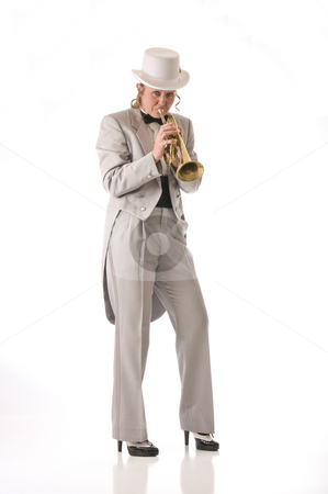 Snazzy Jazz stock photo, Cool pretty lady plays the blues by RCarner Photography
