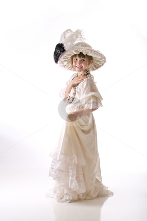 Little girl heaven stock photo, Dressing up in grandma's hat and dress by RCarner Photography