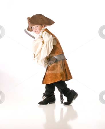 Pirate sneaking up on you stock photo, Little girl ready to go trick or treating by RCarner Photography