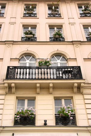 Paris windows stock photo, Windows and balconies of old apartment buildings in Paris France by Elena Elisseeva