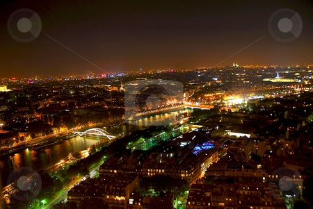 City of Light stock photo, View of Paris from Eiffel tower at night by Elena Elisseeva