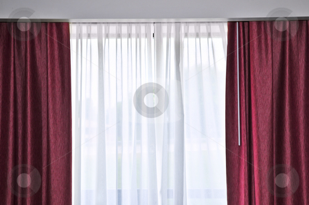 Window with drapes stock photo, Large window with red and white drapes by Elena Elisseeva