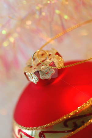 Christmas ornament stock photo, Closeup of red christmas tree ornament glass ball by Elena Elisseeva