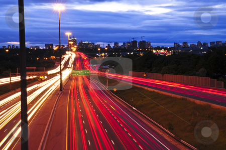 Night traffic stock photo, Night traffic on a busy city highway in Toronto by Elena Elisseeva