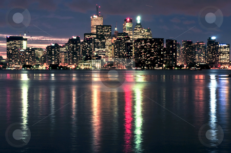 Toronto skyline stock photo, Scenic view at Toronto city waterfront skyline at night by Elena Elisseeva