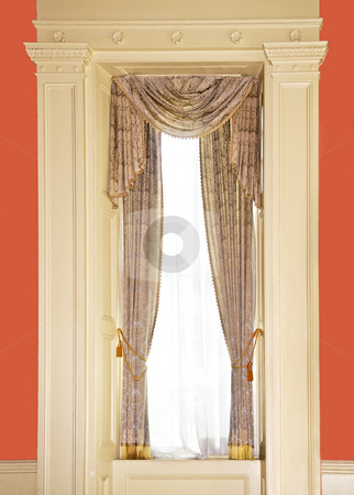 Dressed window stock photo, Dressed window with curtains in luxury home by Elena Elisseeva