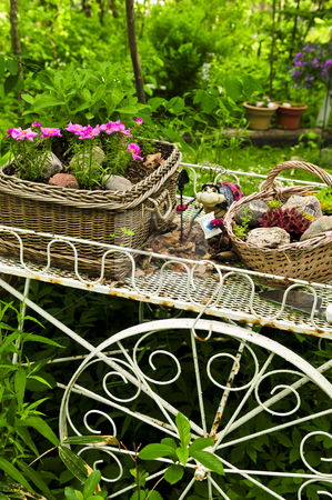 Flower cart in garden stock photo, Flower cart with two baskets in summer garden by Elena Elisseeva