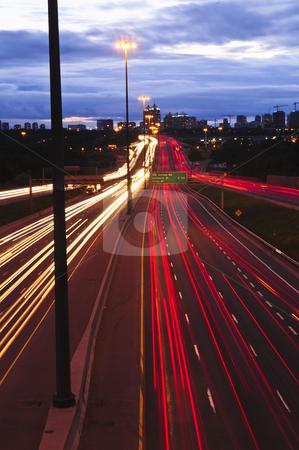 Night traffic stock photo, Night traffic on a busy city highway in Toronto by Elena Elisseeva