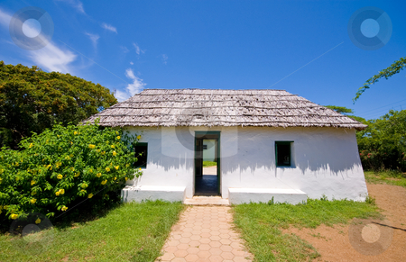 Ancient slave house stock photo, Ancient slave house on curacao cas di palhi mashi by Karin Claus