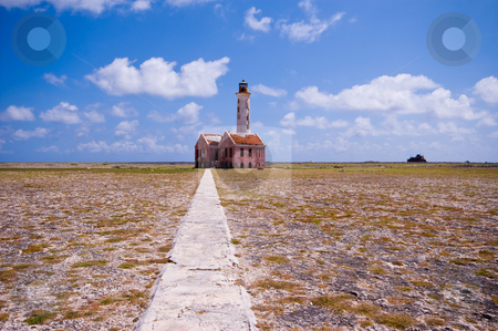 Ancient lighthouse ruin stock photo, Ancient lighthouse ruin on little curacao with foot path by Karin Claus