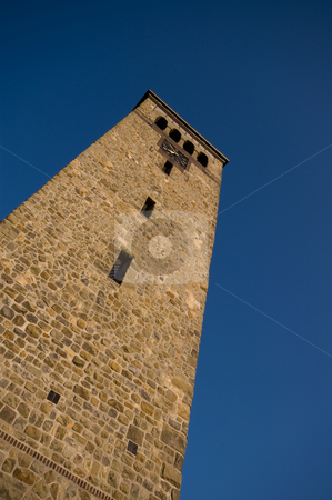 Church tower stock photo, Ancient church tower made of sandstone taken from below by Karin Claus