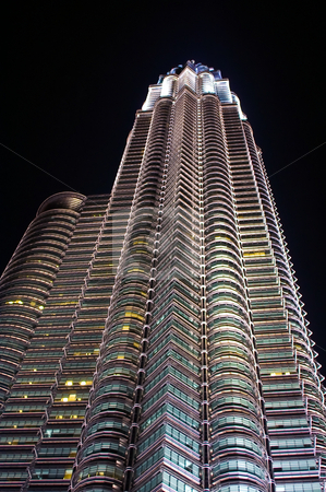 Twin tower stock photo, Asian twin tower the petronas taken from below by Karin Claus
