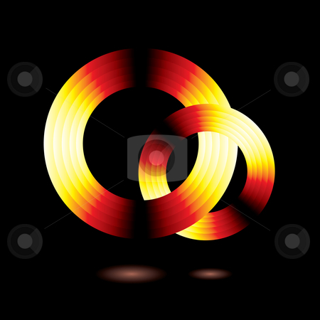 Glow ring stock photo, Abstract ring of glowing flame colours with a drop shadow by Michael Travers