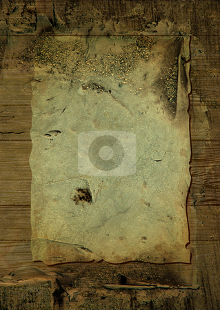 Crusty wood parchment stock photo, Worn parchment placed over a wooden background with crustyness by Michael Travers