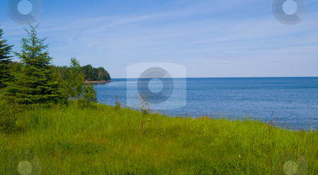 Flood Bay Spring stock photo, Flood Bay along the North shore of Lake Superior in lush Spring greens by John McLaird