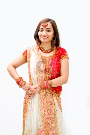 Beautiful Bengali bride stock photo, Beautiful Bengali bride in colorful dress, isolated by Paul Hakimata